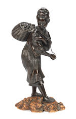 A bronze figure of a fisher-girl By Atsuyoshi for the Maruki company, Meiji Period