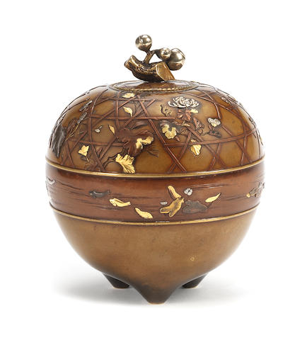 An inlaid bronze tripod bowl and cover Meiji Period