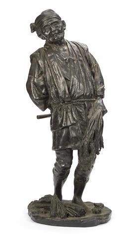 A Tokyo School bronze figure of a peasant By Kaneda Kenjiro, Meiji Period