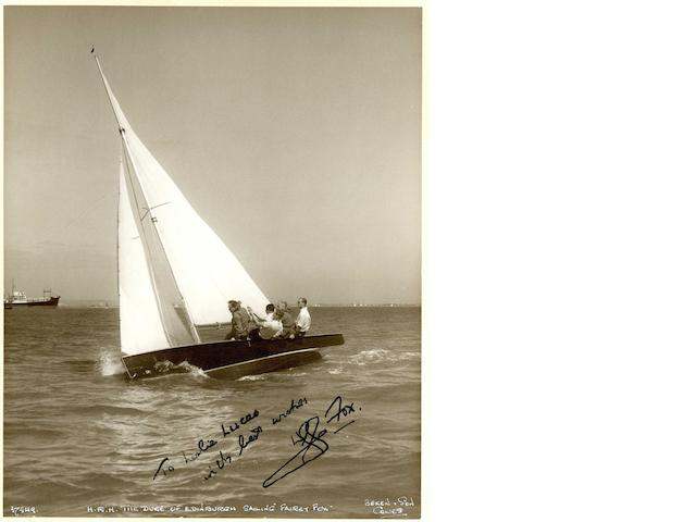 Beken of Cowes. HRH The Duke of Edinburgh sailing Fairey Fox 3