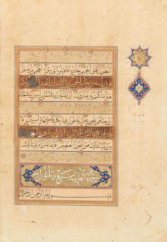 Four large Qur'an leaves in gold and black muhaqqaq script Persia, probably Shiraz, circa 1525-50(4)