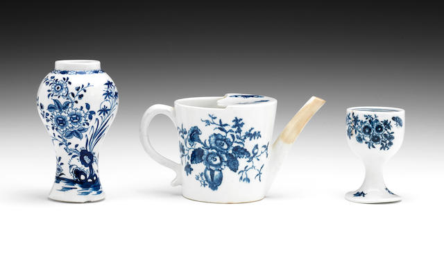 A rare Lowestoft Egg cup, a Lowestoft vase and a Lowestoft feeding cup, circa 1765-80