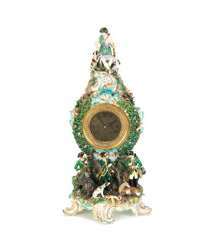A large Meissen porcelain mantel clock decorated in a hunting theme Late 19th century