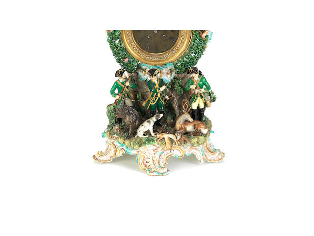 A large Meissen porcelain mantel clock decorated with a hunting theme Late 19th century