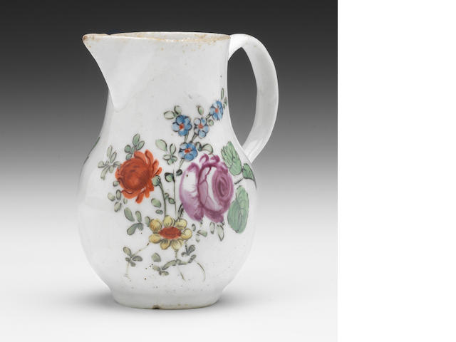 A West Pans sparrow beak jug, coloured flowers