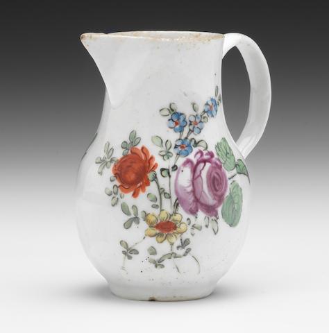 A West Pans sparrow beak jug, coloured flowers
