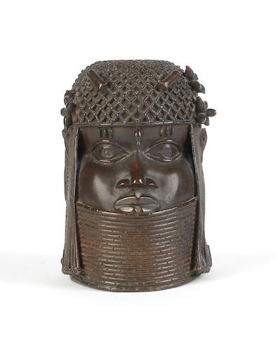 A reproduction Benin bronze high collar head