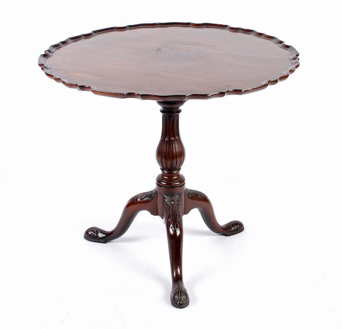 A Chippendale style mahogany tripod table,