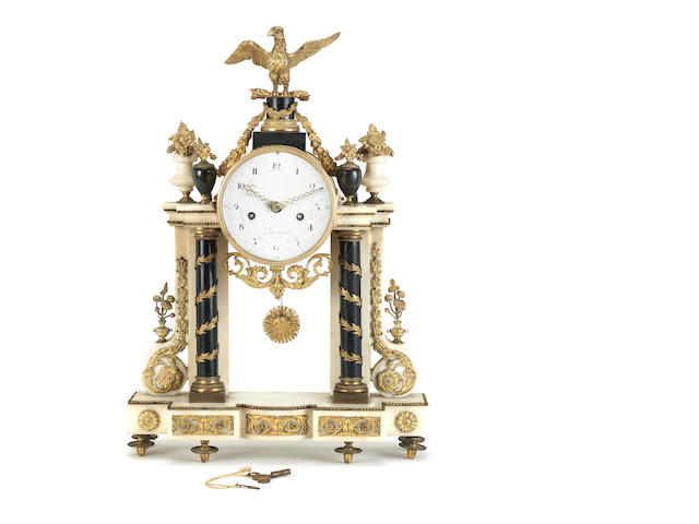 A Louis XVI ormolu and bronze-mounted white marble portico mantel clock