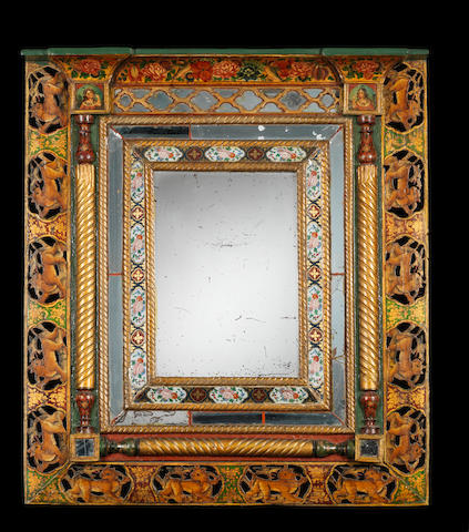 A Qajar reverse-glass painted Mirror within a lacquered wood frame Persia, mid 19th Century