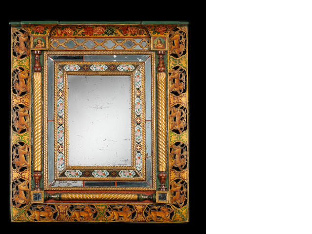 A mirror within a painted glass and painted wood frame Qajar Persia, mid-19th Century