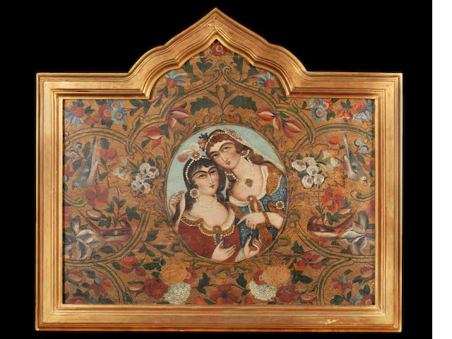 A painted wood panel depicting two maidens Qajar Persia, mid-19th Century