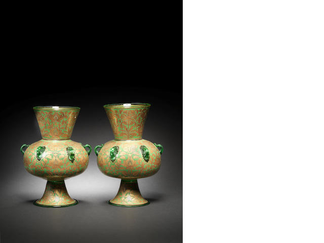 A pair of Mamluk style gilt and enamel glass Mosque Lamps by Philippe-Joseph Brocard Paris, circa 1870(2)
