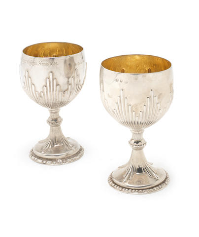 A pair of George II silver  goblets makers mark rubbed, London 1759  (2)