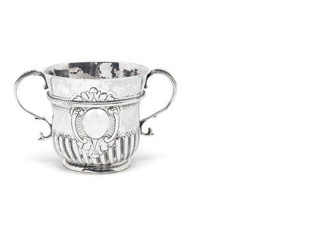 A Queen Ann silver two-handle porringer probably by Richard Greene, London, possibly 1707