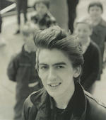 George Harrison / The Beatles: The iconic black leather jacket, worn throughout early stage appearances in Hamburg, Germany and The Cavern Club, Liverpool and for publicity material, circa 1960-1962,