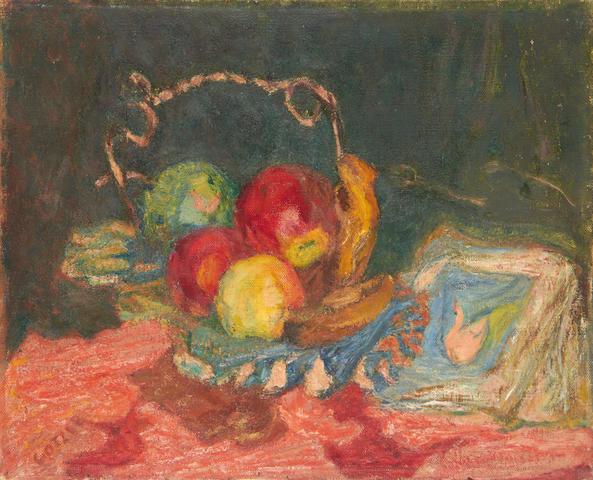 Henryk Gotlib (Polish, 1890-1966) Fruit in silver dish