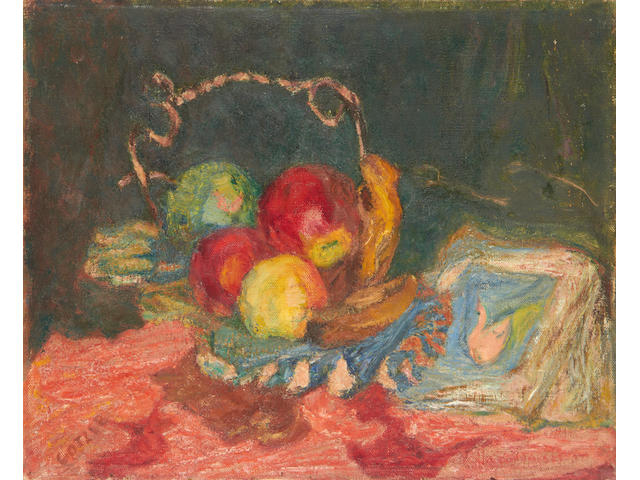 Henryk Gotlib (Polish, 1890-1966) Fruit in silver dish