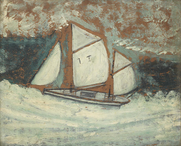 Alfred Wallis (British, 1855-1942) Sailing boat 18.4 x 22.3 cm. (7 1/4 x 8 3/4 in.)