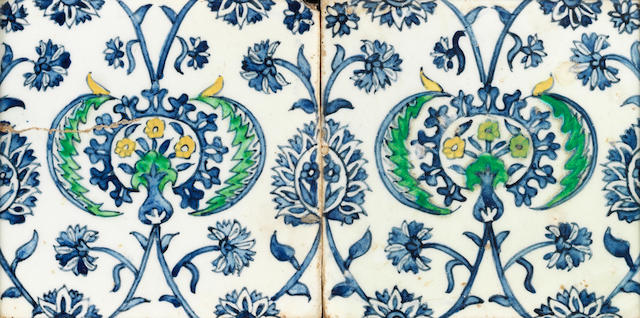 2 Kutahya tiles blue and white  18th Century