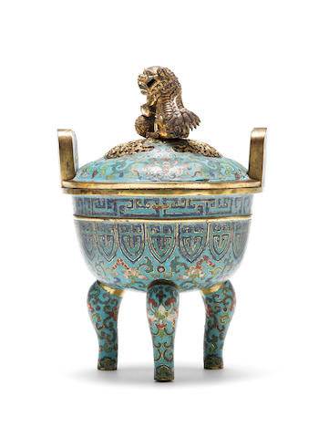 A cloisonné enamel tripod bowl and cover Qianlong