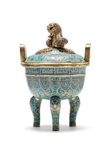 A cloisonné enamel tripod bowl and cover Qianlong