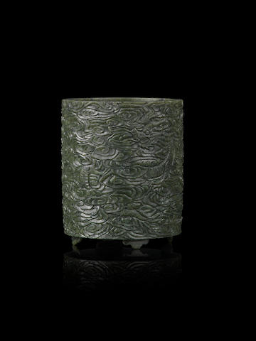 A spinach-green jade 'dragon' brushpot, bitong 19th century