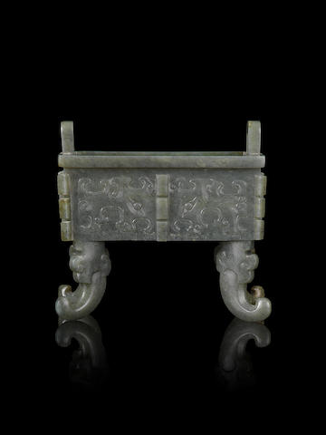 A rare jade archaistic rectangular four-legged censer, fang ding 18th/19th century