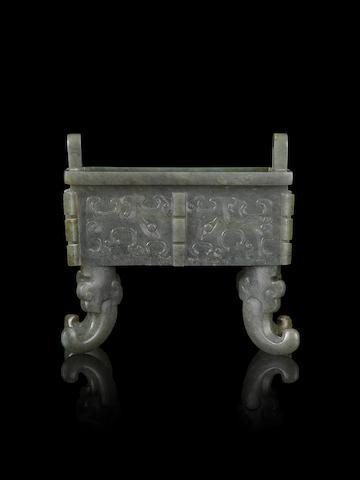 A rare jade archaistic rectangular four-legged censer, fang ding 18th/19th century
