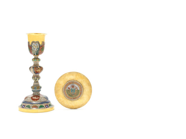 A very rare cloisonné enamel chalice and paten in European Catholic style 19th/20th century