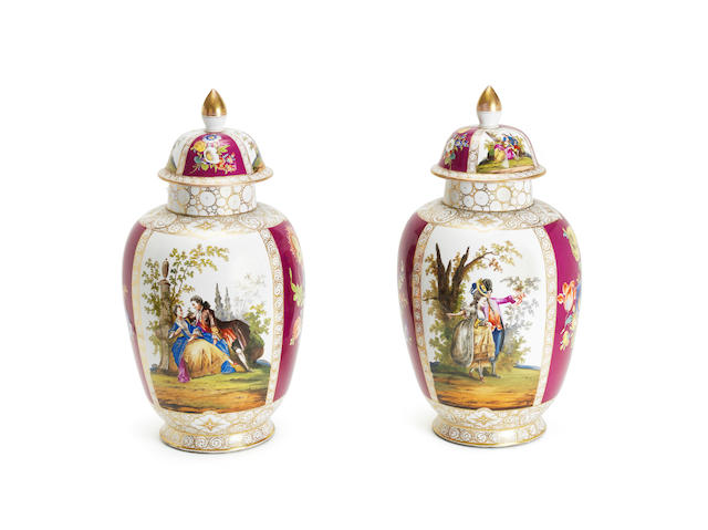 A pair of large Dresden vases and covers Circa 1900
