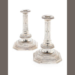 A pair of William III silver candlesticks by Richard Syng, London 1697  (2)