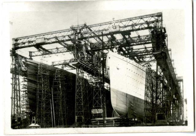 A previously unpublished photograph of RMS Titanic & Olympic, 3.3x2.4ins. (8x6cm)