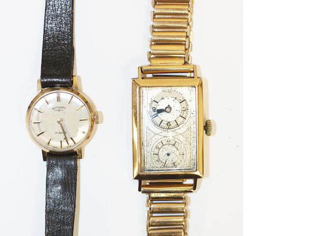A 9 carat Art Deco wristwatch 2