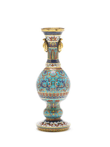 A rare cloisonné enamel long-necked pear-shaped vase Incised Qianlong four-character mark and of the period
