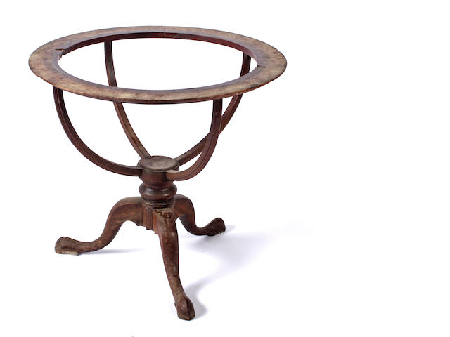 A late Georgian mahogany tripod stand for an 18in library globe