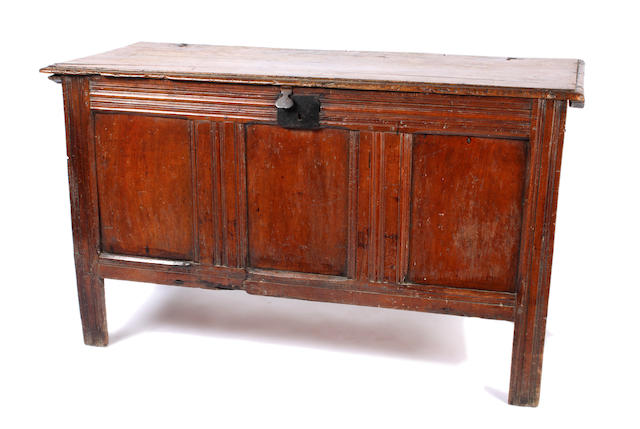 A late 17th/early 18th Century fruitwood panelled coffer