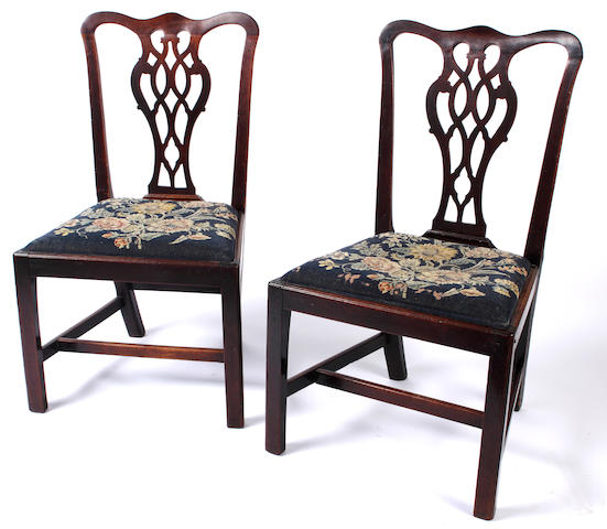A Set of six late George III mahogany dining chairs