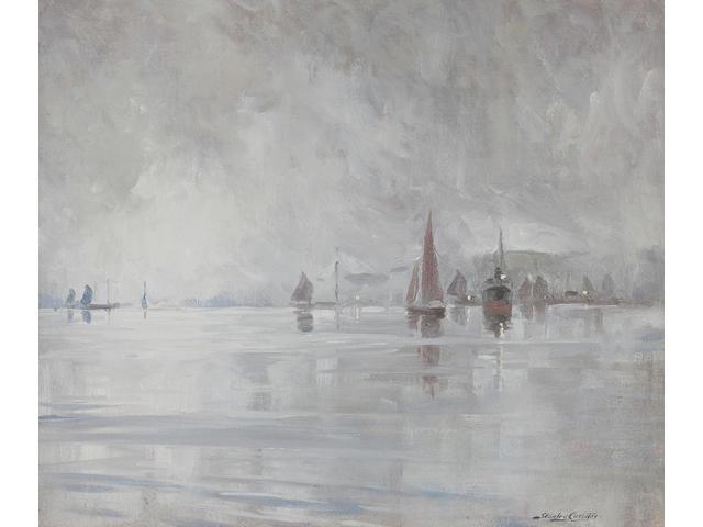 Stanley Cursiter Lerwick in the mist 49 x 60cm