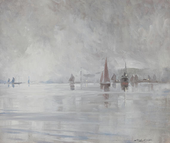 Stanley Cursiter Lerwick in the mist 49 x 60cm