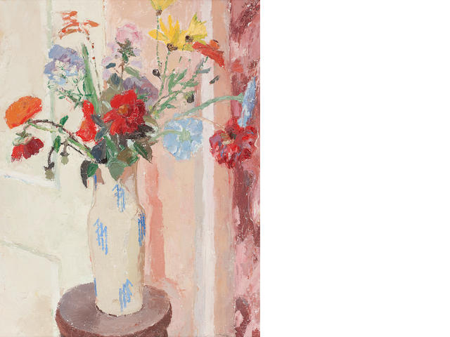 Sir William George Gillies, RSA, RA Summer flowers in a blue and white vase, circa 1940 73 x 55cm