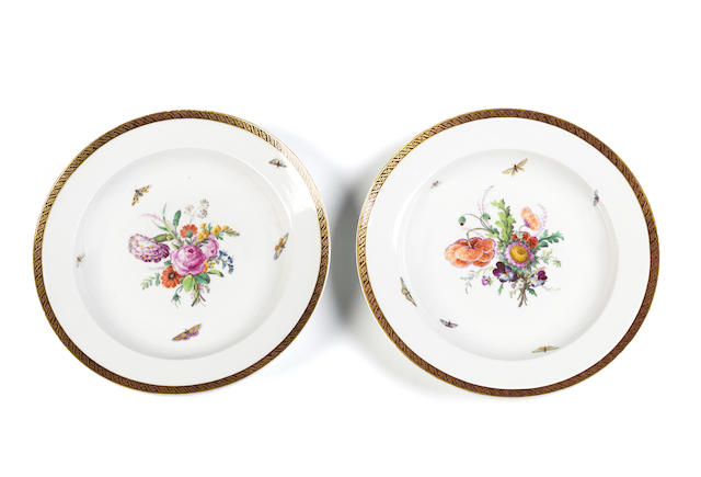A pair of Berlin flower painted dishes First quarter 19th century