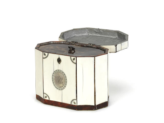 A rare late 18th century ivory, silver and piqué work decagonal tea caddy