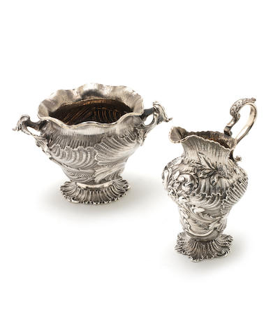 A George IV/William IV silver milk jug and sugar bowl by Charles Fox, London 1826/1836