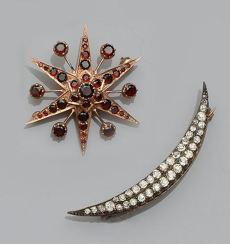 A Victorian diamond crescent brooch and a garnet star brooch (2)