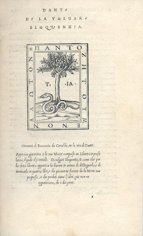 DANTE ALIGHIERI. De la vulgare eloquentia, Vicenza, 1529