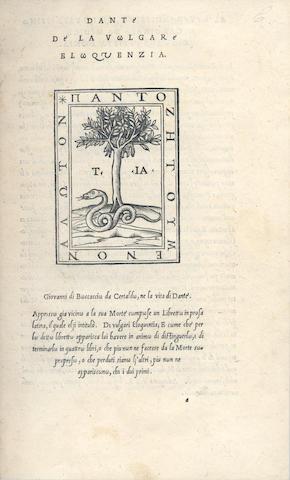 DANTE ALIGHIERI De la vulgare eloquentia, 1529
