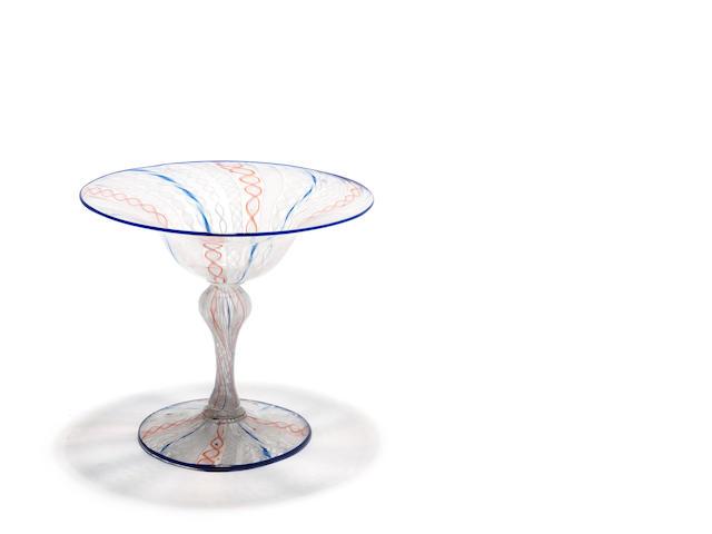 A Venetian latticino glass tazza Circa 1900