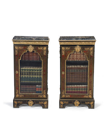 A pair of narrow George IV scarlet tortoiseshell and brass marquetry pier cabinets in the Louis XIV style, Blake???