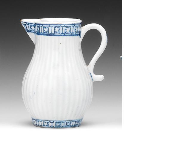 A Lowestoft sparrow beak cream jug, circa 1765